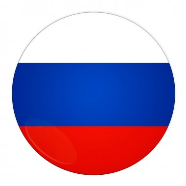 Russia button with flag