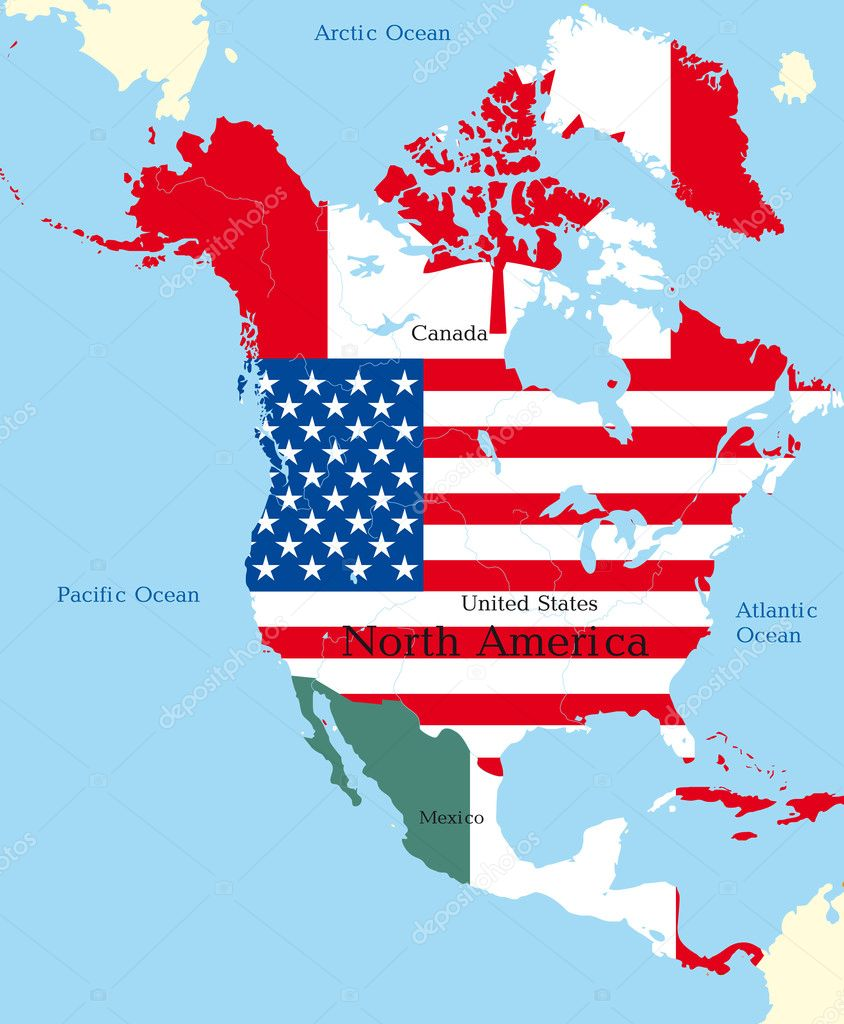 Of North America  Stock Vector - Map of n america