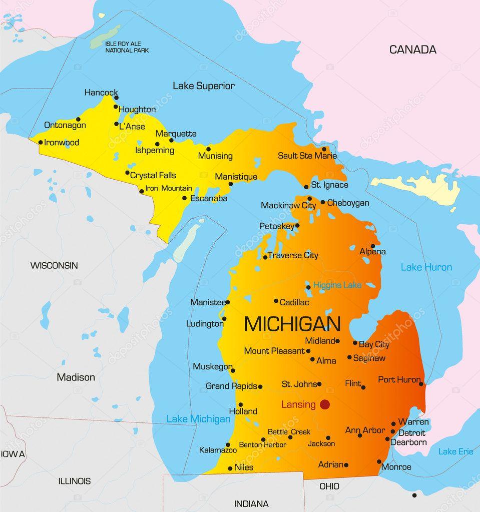 Michigan — Archivo Imágenes Vectoriales © olinchuk #2150332