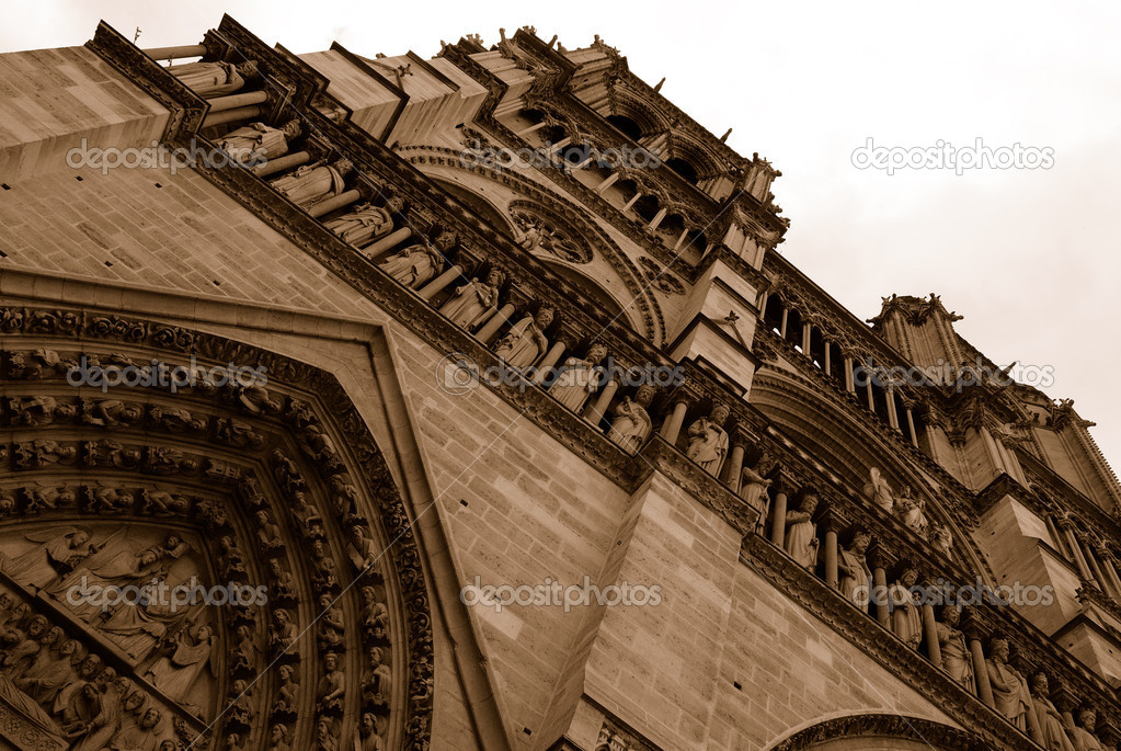 Notre Dame Cathedral Rear View In Sepia Stock Photo