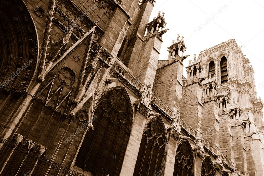 Notre Dame Cathedral Side View In Sepia Stock Photo
