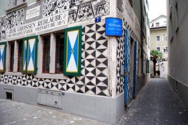 Swiss tavern with murals, Zurich, Switze