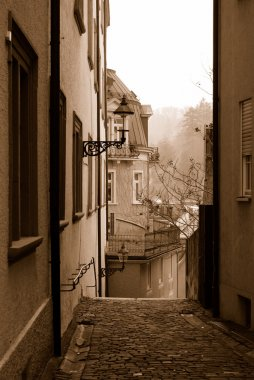 Empty street of Baden-Baden in sepia col