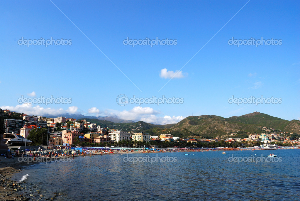 Arenzano coast and mediterranean sea