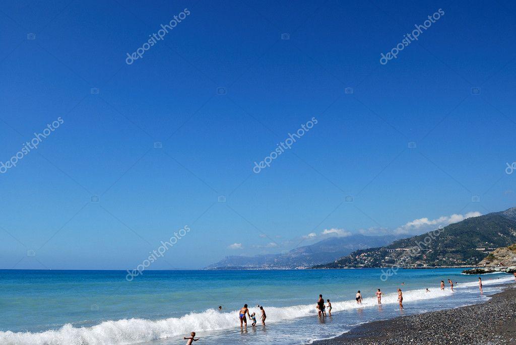 Menton beach and mediterranean sea