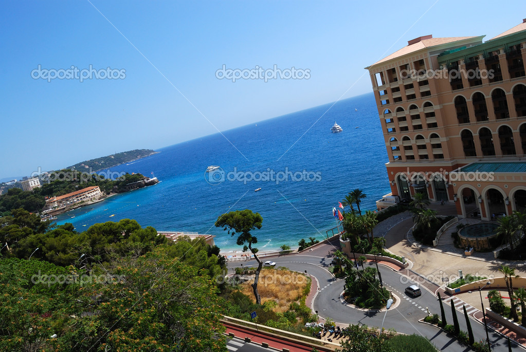 Monaco beach and luxury hotel