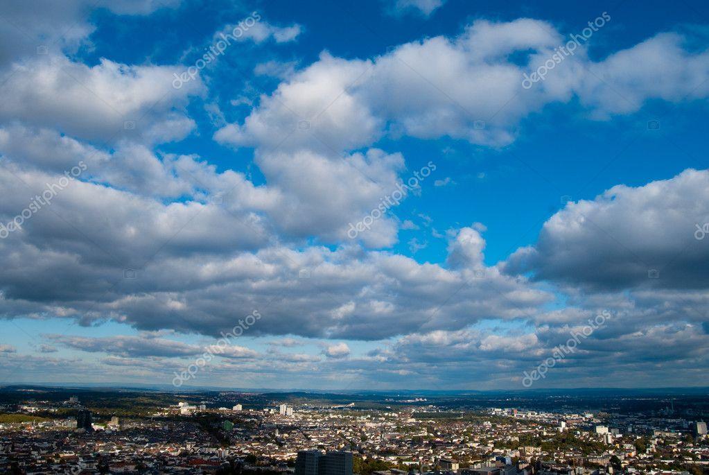 Cloudscape and Frankfurt city
