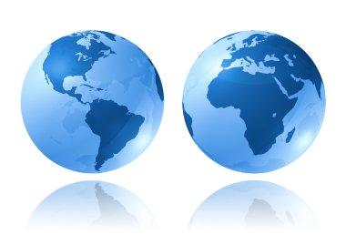 Blue glossy globes