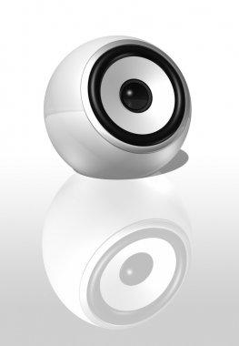 Three dimensional speaker sphere isolated on white stock vector