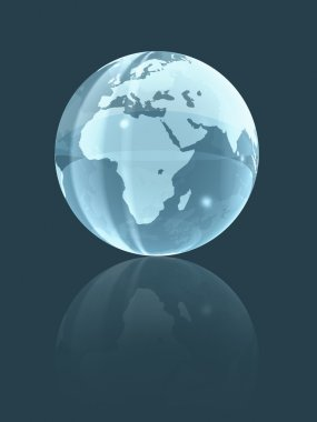 3D world glass globe