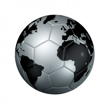 Silver soccer football ball World globe