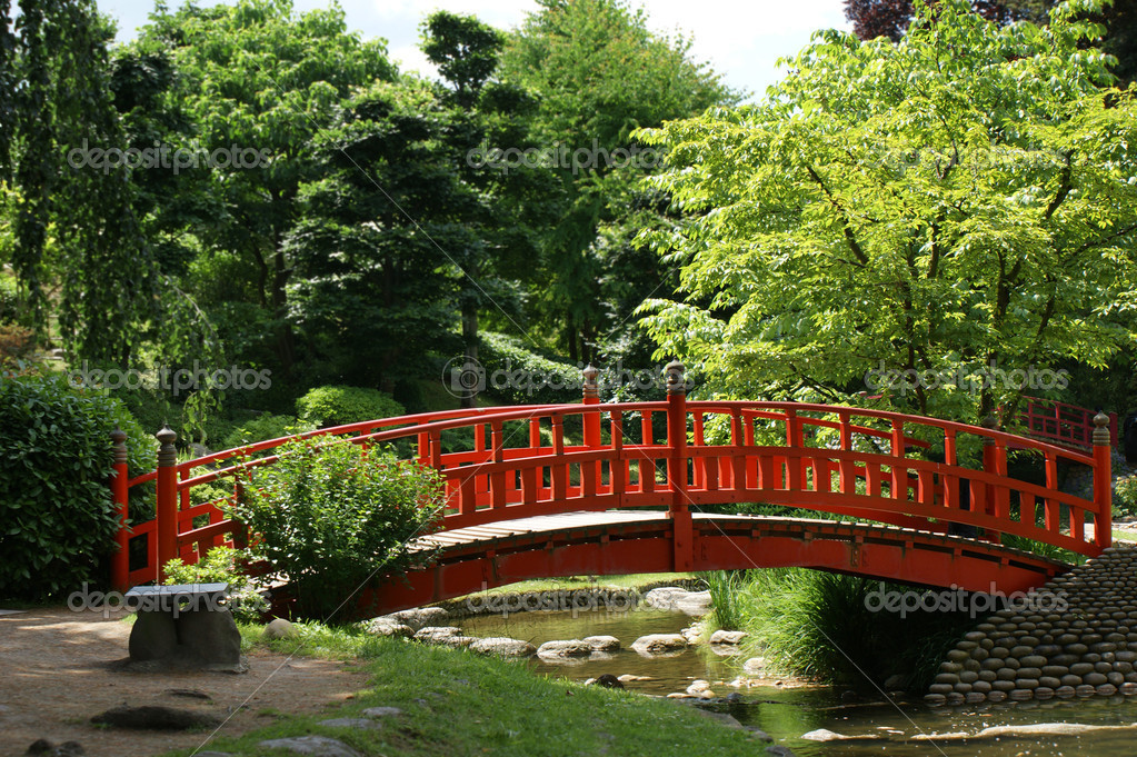 Red bridge in a japanese garden