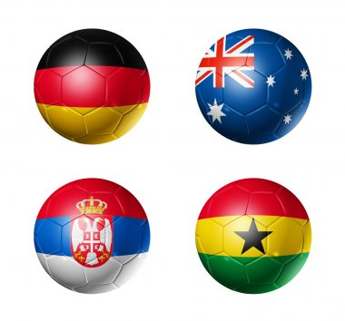 Soccer world cup group D flags on soccer