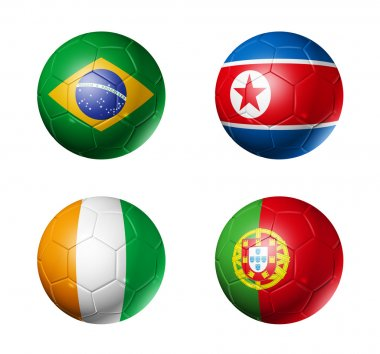 Soccer world cup group G flags on soccer