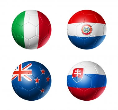 Soccer world cup group F flags on soccer