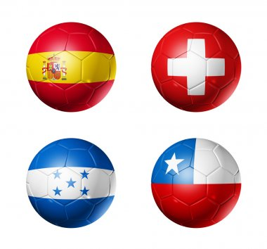 Soccer world cup group H flags on soccer