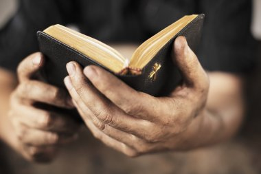 Dirty hands holding an old bible. Very short depth-of-field stock vector