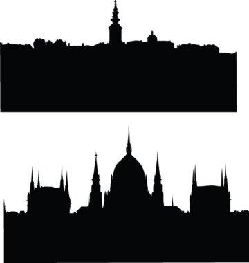 Panorams of citys silhouette