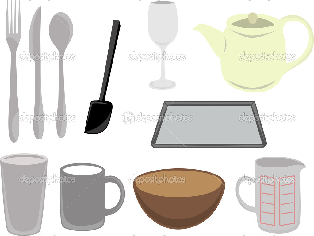 Basic kitchen utensils - Collection Of Basic Kitchen Utensils And Cookware Fork Spoon Cup Bowl Teacup Vector By Mheldvector