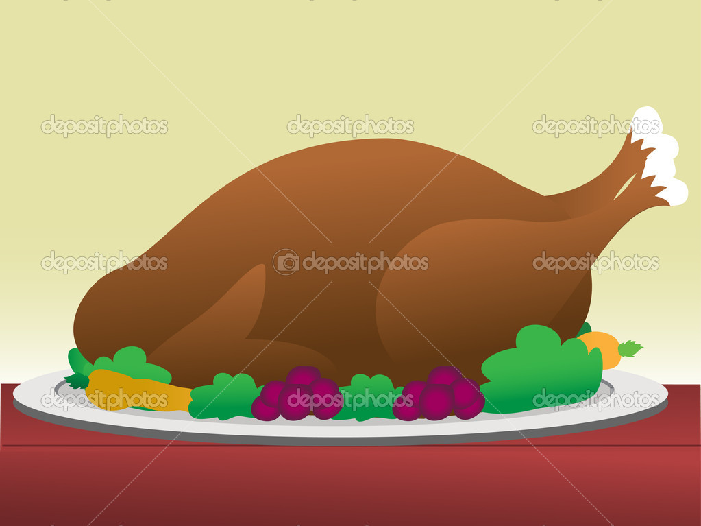 Turkey with dressing on table