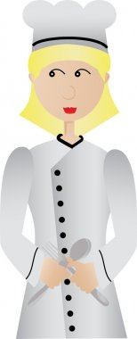 Happy Female Chef holding fork and spoon