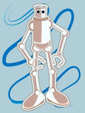 "Картина, постер, плакат, фотообои ""голубой робот с большими ногами против бака "", артикул 2485013"