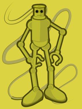 "Картина, постер, плакат, фотообои ""медный робот с большими ногами против бака "", артикул 2485015"