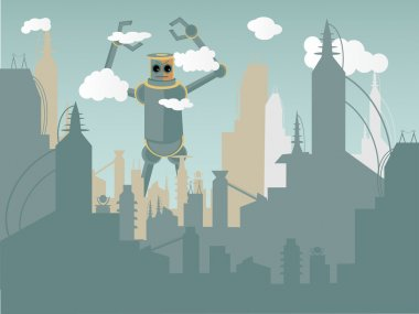 Industrialized metropolis terrorized by huge robotic monster reaching the clouds stock vector