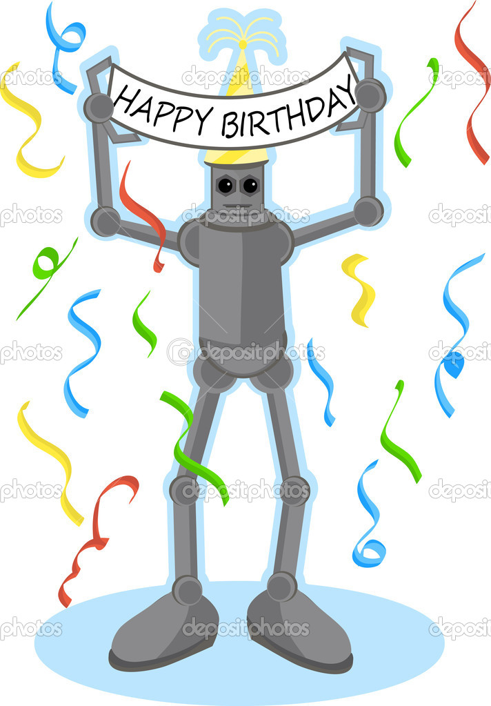 Robot holding Happy Birthday sign