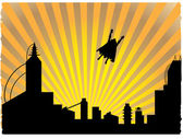 Fotografie Silhouetted superhero flying off into th