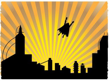 Silhouetted superhero flying off into th