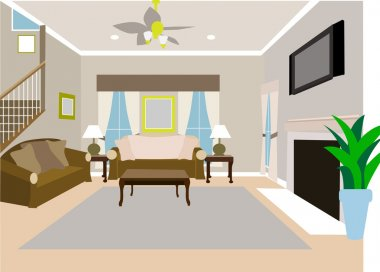 Angled Modern Living room of two story h