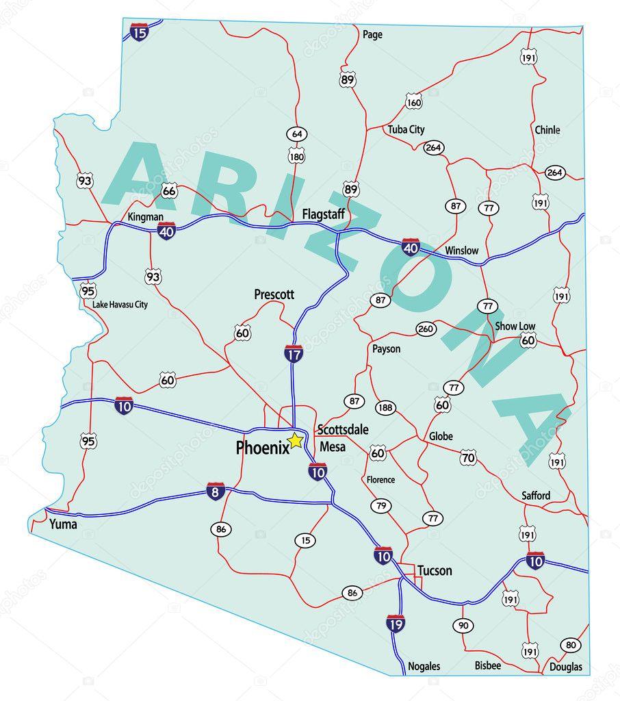 Arizona State Interstate Map — Stock Vector ...