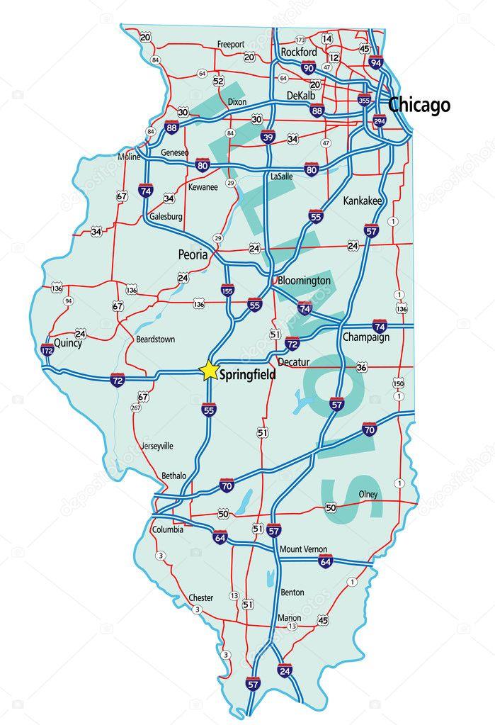 Illinois State Road Map — Stock Vector © suwanneeredhead ...