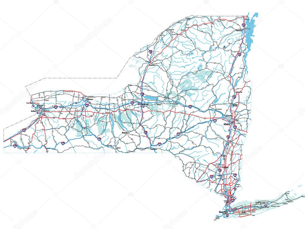 New York State Interstate Map  Stock Vector  Suwanneeredhead - New york map highways
