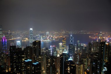 Victoria harbor night view of hong kong