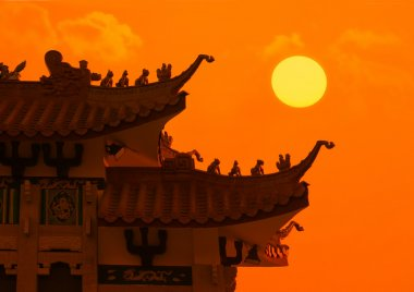 Chinese dragon roof with sunset