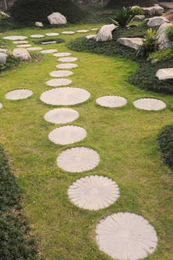 The curving stepping stone footpath in the landscape garden.