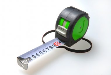 Measuring tape on a white background