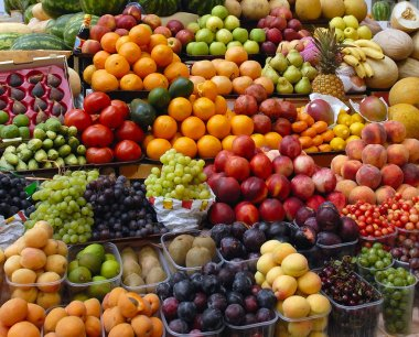Fruit and vegetables on a market