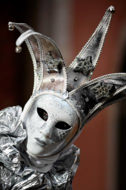 Close-up view on silver mask at the carnival