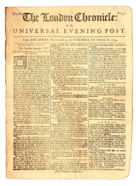 Old London Newspaper dated 1759