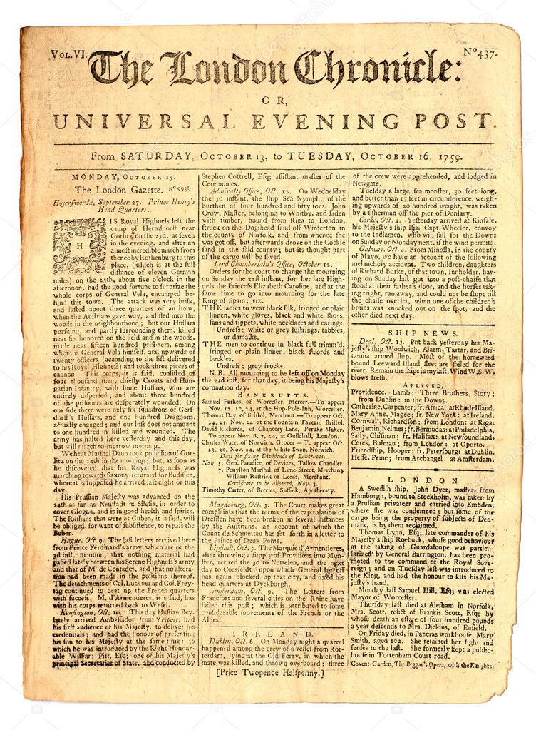 Old London Newspaper Dated 1759 Stock Photo Original Front Page