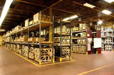 The parts warehouse of a manufacturer