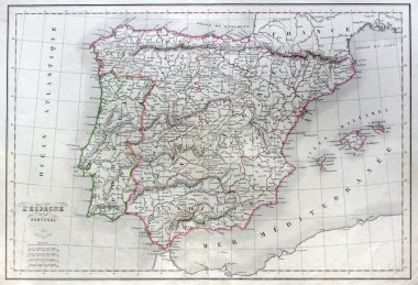 Antique map of Spain and Portugal.