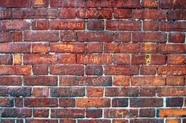 Graffiti Filled Red Brick Wall.