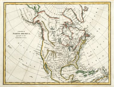 Old map of North America.