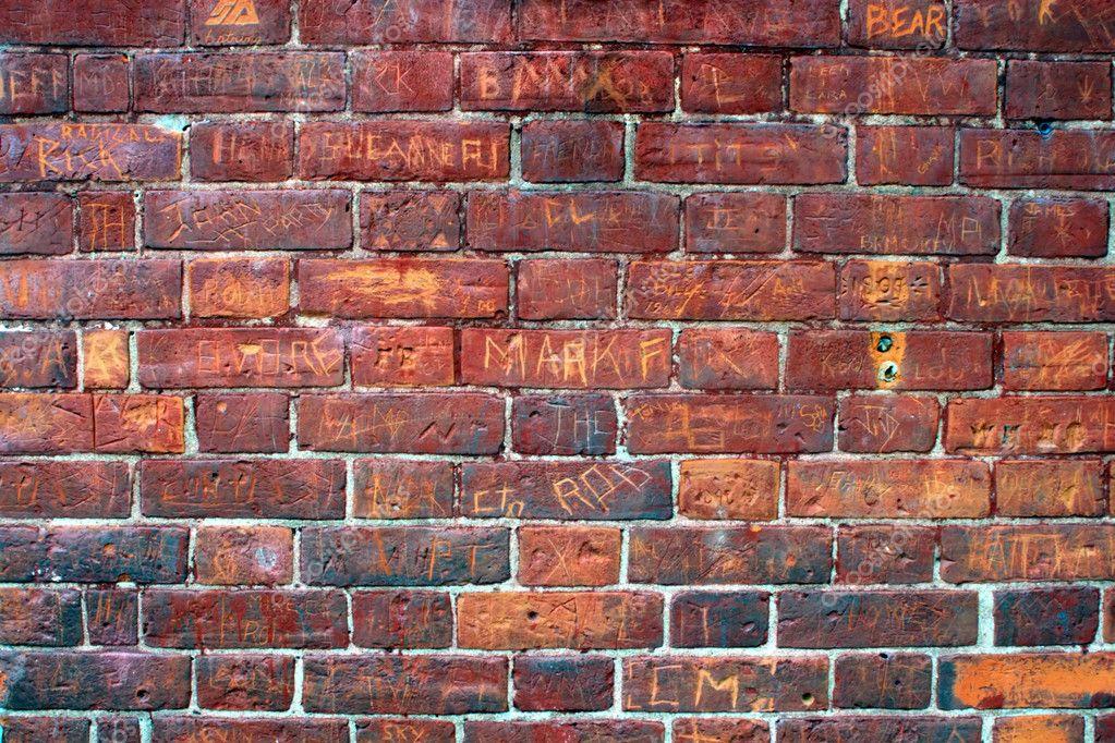 Tagged brick wall