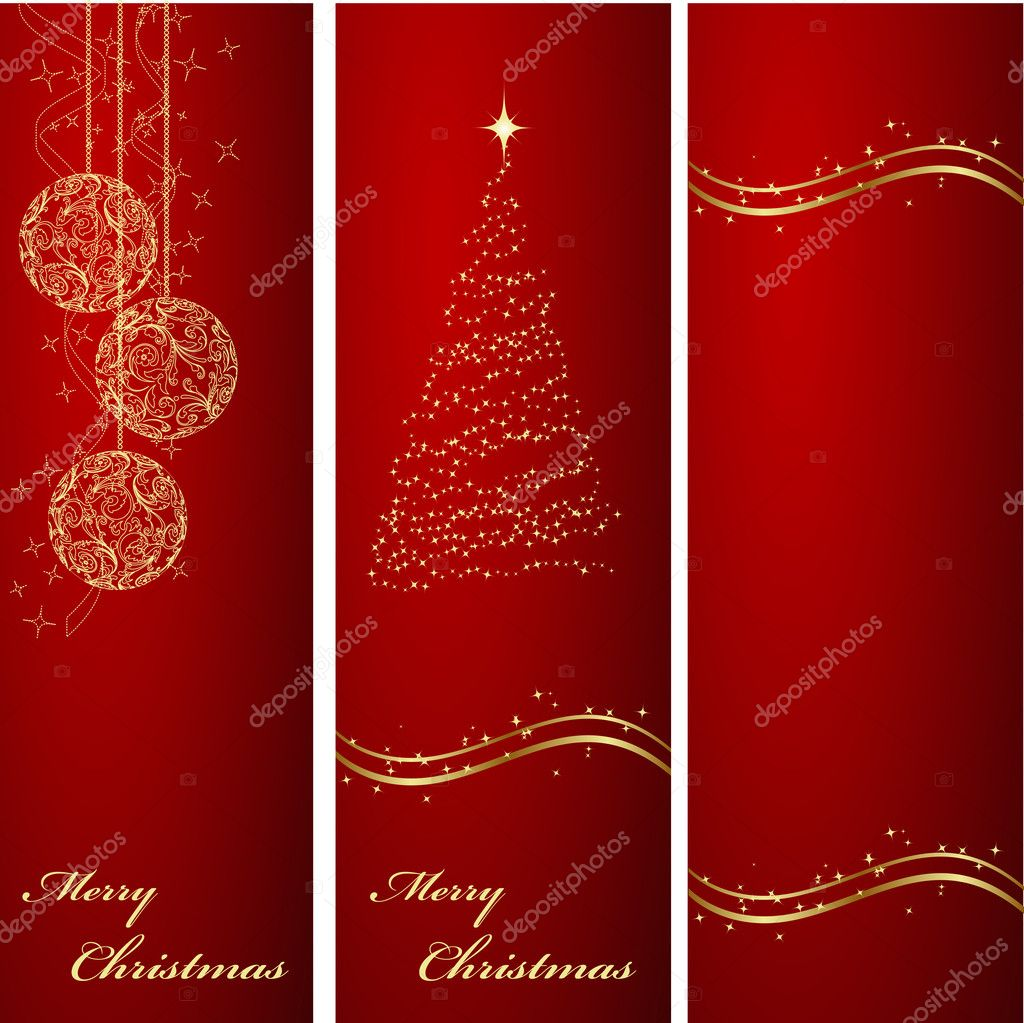 Three Vertical Ornated Red And Gold Christmas Or New Year Backgrounds Vector By Nataly Nete