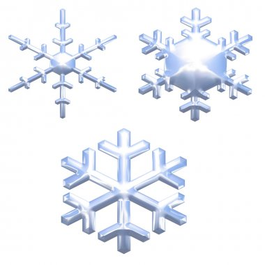 Set of chrome metal effect snow flakes